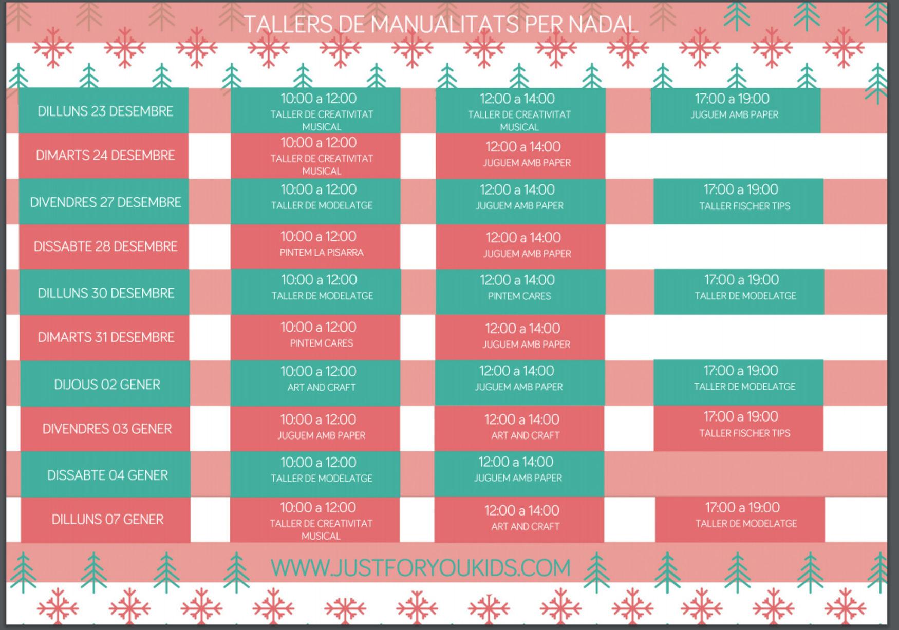calendario talleres de navidad para nios nios actividades infantiles barcelona